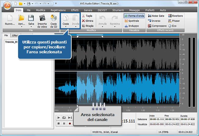 Come elaborare i canali individuali con AVS Audio Editor? Passo 4