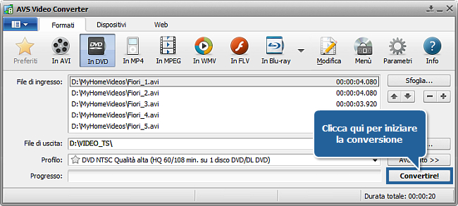 Come convertire file AVI in DVD? Passo 7