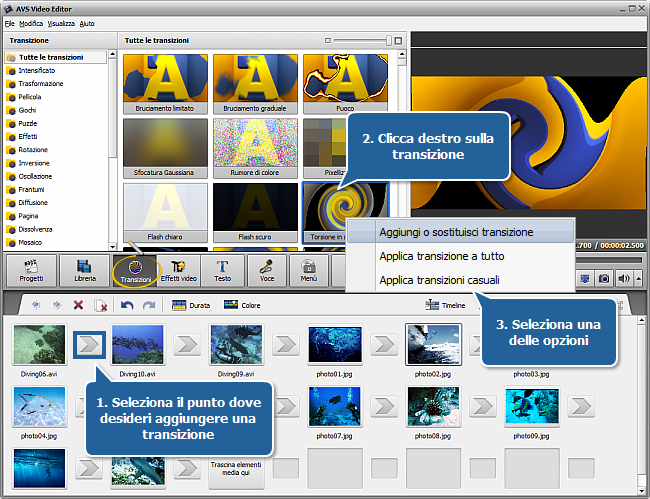 Come creare una presentazione usando AVS Video Editor? Passo 2