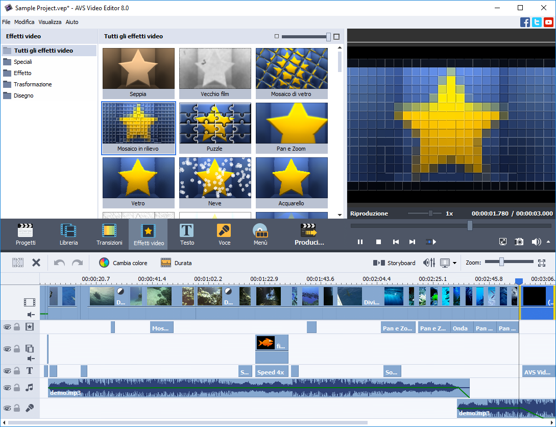 Avs video editor video montaggio modificare video for Programma progettazione giardini gratis italiano