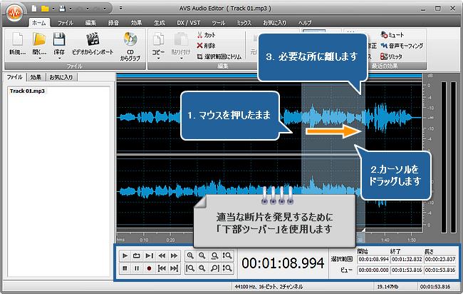 AVS Audio Editor で音声をメディアファイルのサイズに符合させる方法。ステップ 3