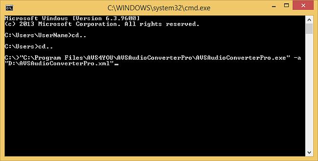 Как использовать командную строку при работе с AVS Command Line Converters? Шаг 4