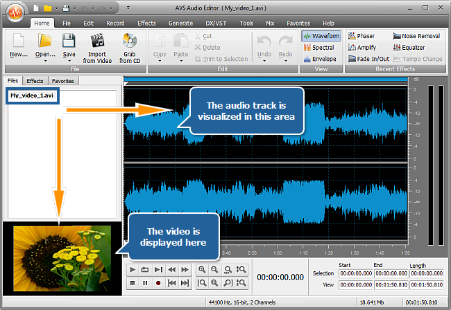 How to edit the audio track of your home video? Step 2